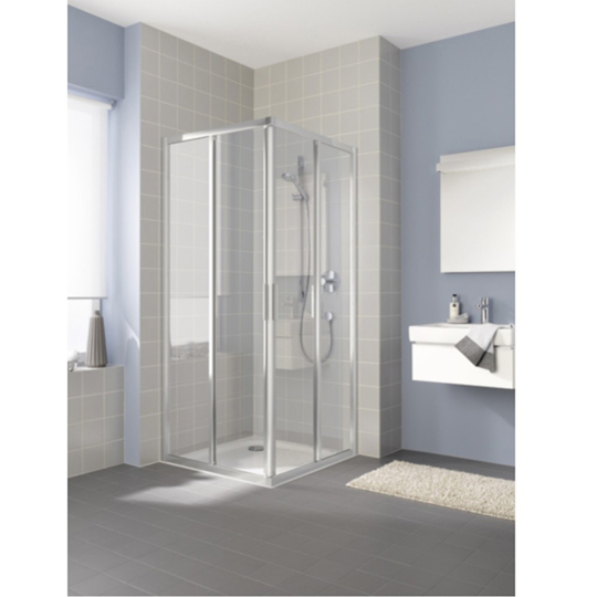 Kermi Raya Hinged Door With Fixed Panel Silver With