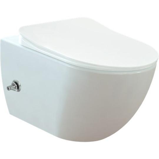Creavit Free Wall Hung Pan Combined Bidet with Integrated Bidet Faucet FE320.00500