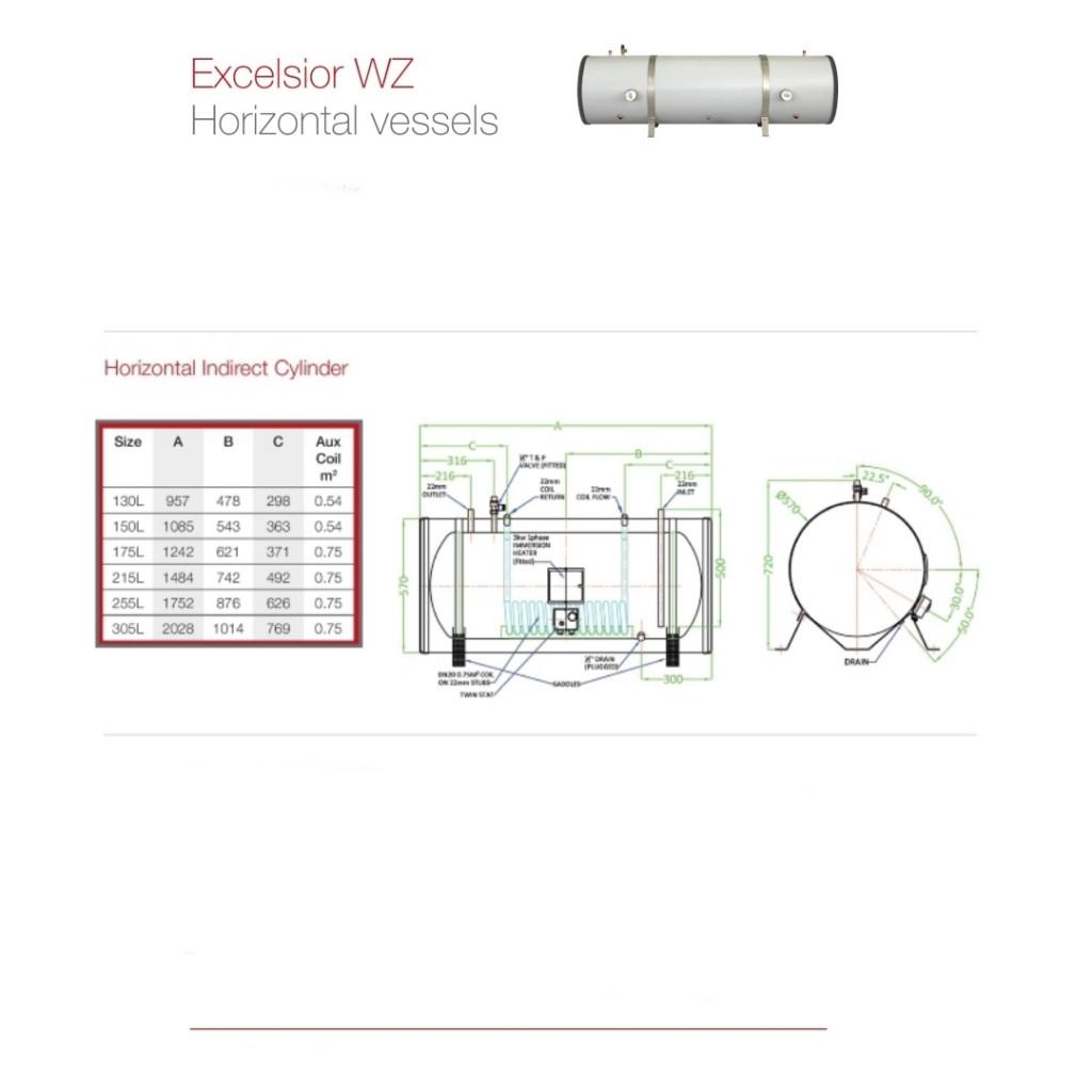 Fabdec Excelsior Indirect Horizontal Unvented Cylinder - Baker and Soars