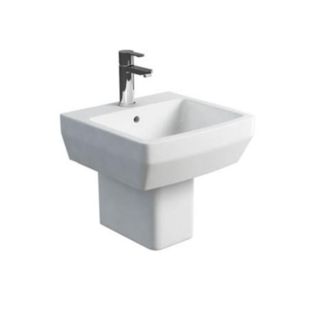 Britton Cube Washbasin 50cm With Square Semi Pedestal