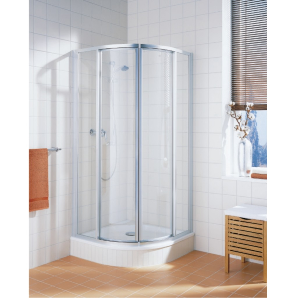 Kermi cada sliding door quadrant white baker and soars for Door quadrant