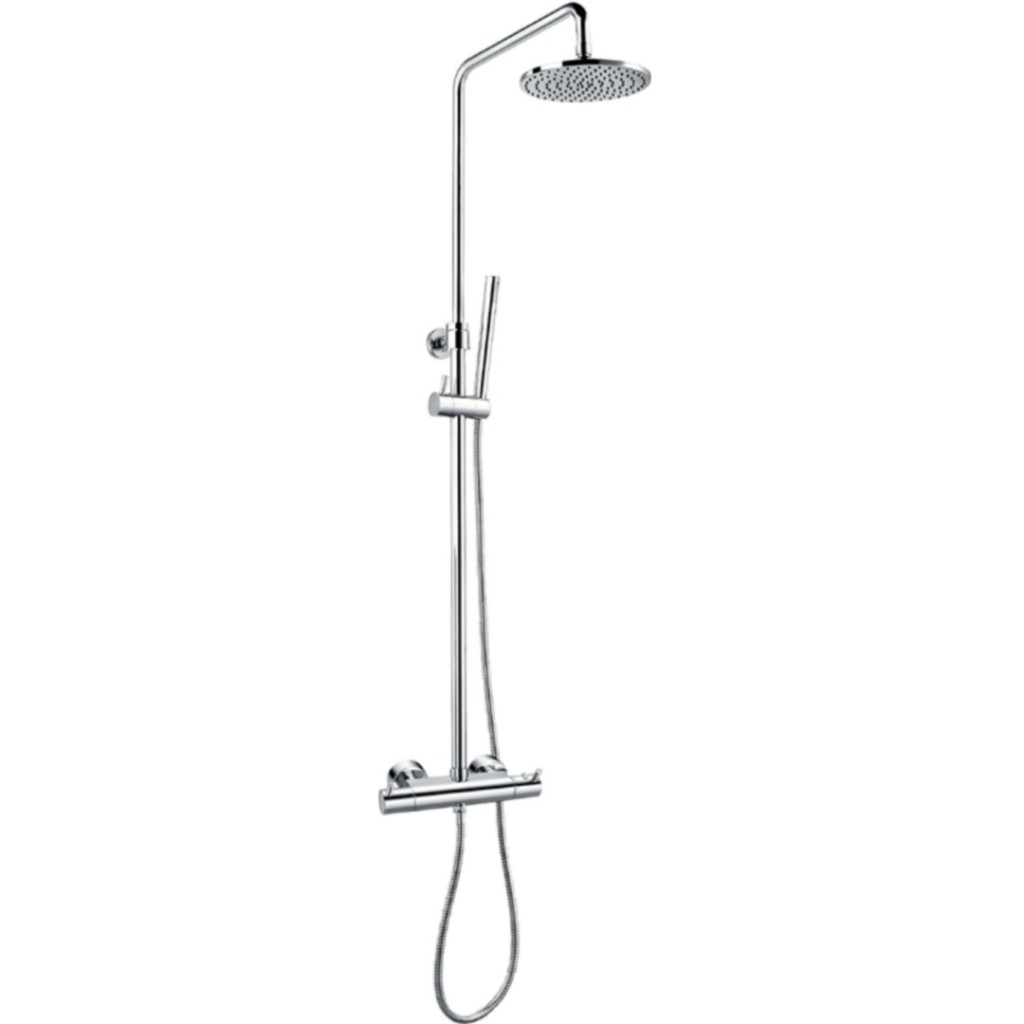 Flova Levo Thermostatic Exposed Shower Set With Hand Shower Set And Overhead Shower Lvtskit