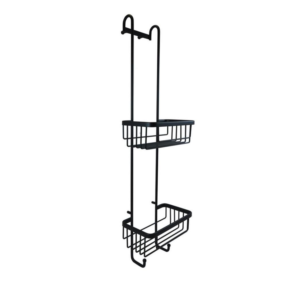 Roman Showers Double Hanging Basket With Hooks Matt Black RSB01