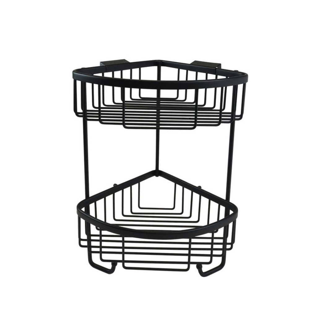 Roman Showers Double Corner Shower Basket with Hooks Matt Black RSB05